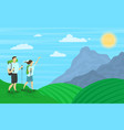 cartoon color characters people and hiking family vector image vector image