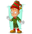 Cartoon redhead Santa elf in green vector image