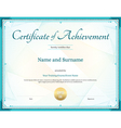 Certificate of Achievement template green vector image vector image