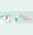 christmas banner of couple walking in snow vector image vector image