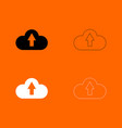cloud service black and white set icon vector image vector image