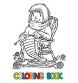 coloring book with funny knitter women vector image vector image