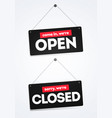 come in we re open sorry we are closed door signs vector image