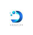 d letter logo design with 3d and ribbon effect vector image vector image