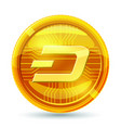 dash icon is a golden color crypto currency vector image