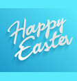 easter greetings hand lettering badge on blue vector image