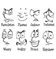 eight different facial expressions with words vector image vector image