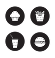 Fast food black icons set vector image