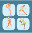 figure ice skater cartoon trick figure vector image
