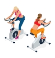 Fitness woman working out on exercise bike at the vector image