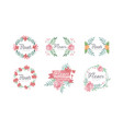 flower shop logo templates set badges emblems vector image vector image