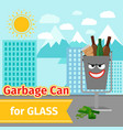 glass trash can with monster face vector image vector image