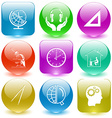 globe and clock headphones in hands triangle ruler vector image