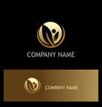 gold leaf organic company logo vector image