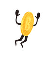 golden coin character in action shiny humanized vector image