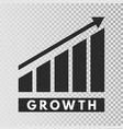 growth template growing bar graph icon on vector image