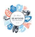 hand drawn seafood design shellfish frame on vector image vector image