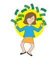 Happy Lady and Money vector image vector image