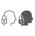 head lock line and glyph icon protection and vector image vector image