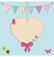 heart decoration and bunting background vector image vector image