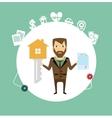 insurance agent holds in one hand a huge key and vector image