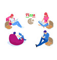 isometric icons freelances working and eating vector image vector image