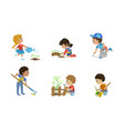 kids volunteers set cute children working in vector image vector image