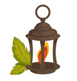 lantern or lamp with flame inside and plant leaves vector image