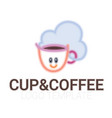 line drawing of cup of coffee with smile vector image vector image