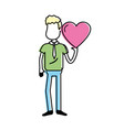 man with nice heart in his hand and cute wear vector image vector image
