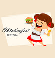 oktoberfest beer festival funny woman vector image