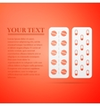 Pills in a blister pack flat icon on orange vector image vector image