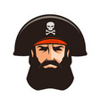 pirate logo or label portrait of bearded man in vector image