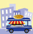 pizza van in the city vector image