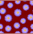 purple aster daisy seamless on red background vector image vector image