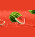 red drops watermelon 3d realistic vector image vector image
