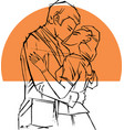 retro styled pair kissing in front of orange sun vector image