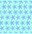 Sea stars seamless pattern in blue color