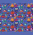 seamless autumn pattern with pumpkin jumper and vector image