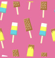 Seamless pattern with chocolate ice cream on stick
