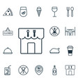 set of 16 food icons includes dessert restaurant vector image vector image