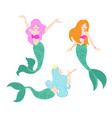 set of beautiful swimming vector image