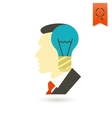 Silhouette of Man with Light Bulb Idea Concept vector image vector image