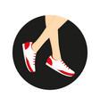 sneakers on legs vector image