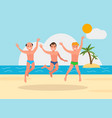 three young men jumping on beach background vector image vector image