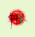 torii gates and bamboo tree watercolor splash icon vector image