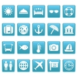 Travel icons on blue squares vector image vector image