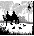two elderly woman silhouettes in the park vector image vector image