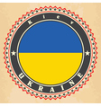 Vintage label cards of Ukraine flag vector image