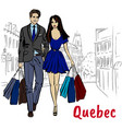 woman and man with shoping bags vector image vector image